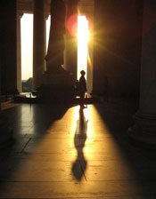 At the Jefferson Memorial in a scene from the film