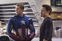 Chris Evans as Captain America, Robert Downey Jr. as Tony Stark