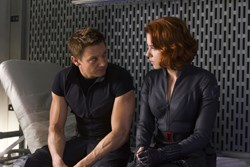 Jeremy Renner as Hawkeye, Scarlett Johansson as Black Widow