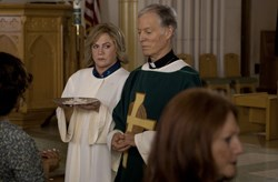 With Monsignor Murphy (Richard Chamberlain)
