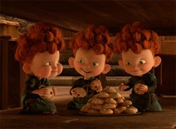 The triplets, Harris, Hubert, and Hamish