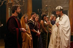 Augustine (left, played by Alessandro Preziosi) meets Ambrose of Milan (Andrea Giordana)