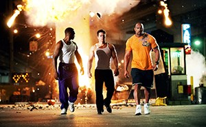 Anthony Mackie, Mark Wahlberg, and Dwayne Johnson in Pain & Gain