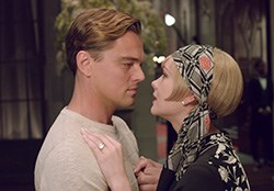 Leonardo DiCaprio as Jay Gatsby and Carey Mulligan as Daisy Buchanan in The Great Gatsby
