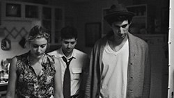 Greta Gerwig (Frances), Michael Zegen (Benji) and Adam Driver (Lev) in Francis Ha