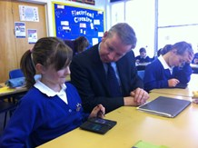 Education minister Michael Gove meets with students at Sprites Primary in Ipswich.