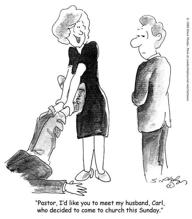 Wife Drags Husband to Church