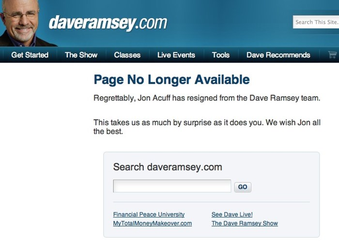 Jon Acuff Resigns from 'Dream Job' with Dave Ramsey
