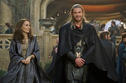 Chris Hemsworth as Thor and Natalie Portman as Jane in Thor: The Dark World