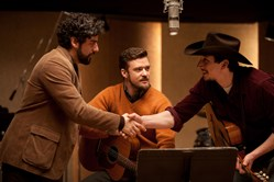 Oscar Isaac, Justin Timberlake, and Adam Driver in 'Inside Llewyn Davis'