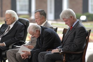 Graham with Jimmy Carter (Gallup's No. 4) and Bill Clinton (No. 3) in 2007.