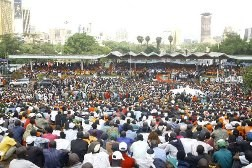 Uhuru Park in Nairobi is a popular venue for evangelical meetings.