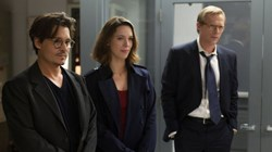 "Johnny Depp, Paul Bettany, and Rebecca Hall in ""Transcendence"""