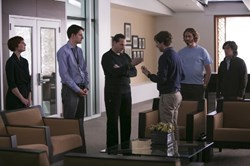 Matt Ross, Jill E. Alexander, Zach Woods, T.J. Miller, Thomas Middleditch and Josh Brener in 'Silicon Valley'