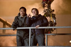 Ken Watanabe and Gareth Edwards in 'Godzilla'
