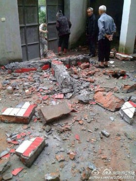 A cross removed and destroyed from a Zhejiang church