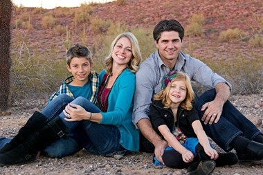 Joshua Becker with his wife and two kids