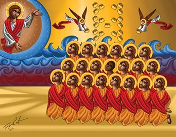 This icon honors the 21 Christians killed in previous propaganda video.