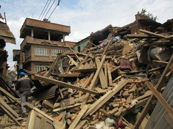 Destruction in Bhakaptur.