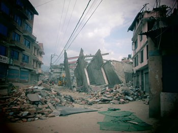 The wreckage of Elssadai church in Kathmandu.