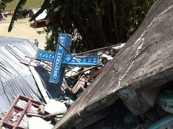 A destroyed Nepalese church.