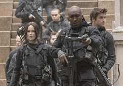 Mahershala Ali, Jennifer Lawrence and Liam Hemsworth in 'The Hunger Games: Mockingjay - Part 2'