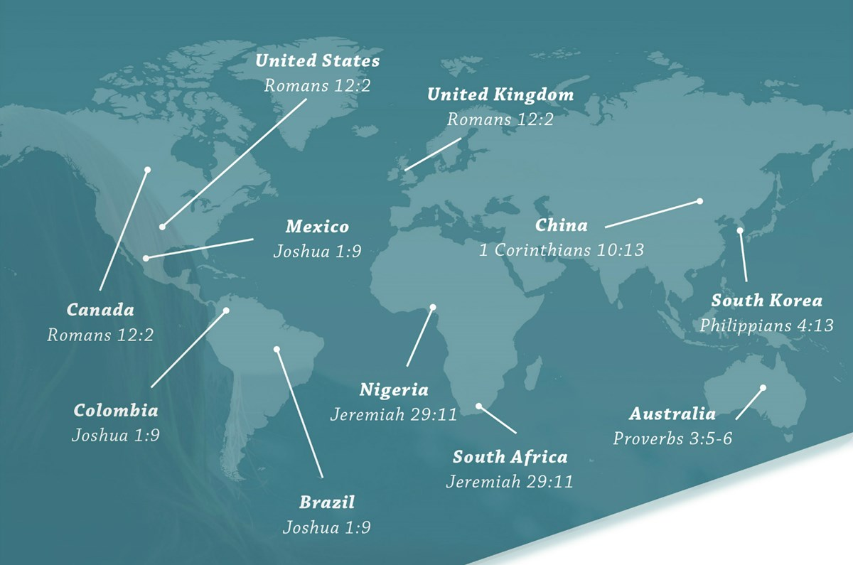 The most popular Bible verses (by country) of 2015.
