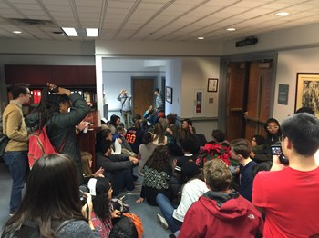 Wheaton College stage a sit-in at president Philip Ryken's office.