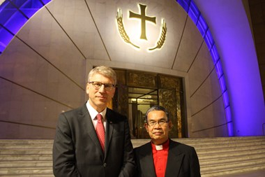 Leaders of the World Evangelical Alliance, Efraim Tendero (right), and World Council of Churches, Olaf Tveit (left), in front of Orthodox cathedral in Tirana.