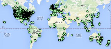 Map of churches signed up to sing hymn on Sunday.