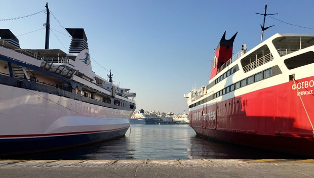 Ferries connect the Greek islands to Athen's port of Piraeus.
