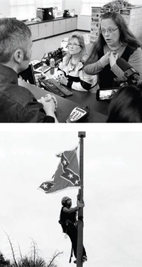 TOP: Rowan County Clerk Kim Davis, Kentucky, 2015. Photo by Timothy D. Easley / AP  BOTTOM: Bree Newsome climbs the pole to remove the Confederate flag, Columbia, South Carolina, 2015. Photo by Bruce Smith / AP
