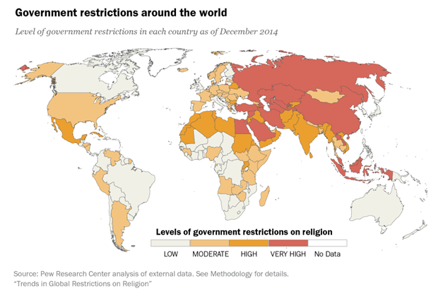 Across Nations Christians Face More Terrorism But Less - Religion map of world 2014