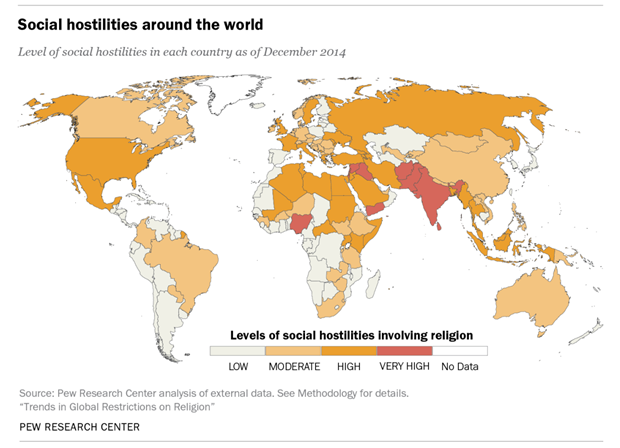 Across Nations Christians Face More Terrorism But Less - Christian countries in the world map