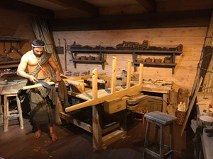 A depiction of a workshop aboard Noah's Ark at the Ark Encounter theme park.