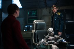 Simon Pegg, Sofia Boutella, and Chris Pine in 'Star Trek Beyond'
