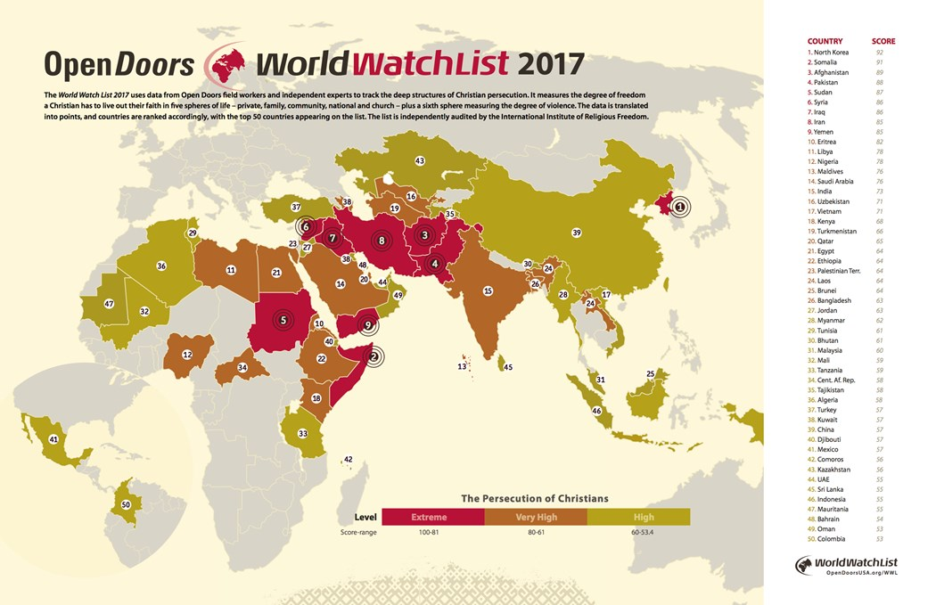 Worst Year Yet The Top Countries Where Its Hardest To Be A - Christian countries in the world map
