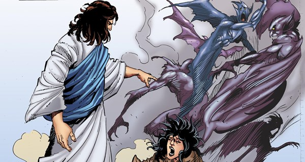 Jesus casts out a demon in Kingstone Comics' 'The Kingstone Bible'