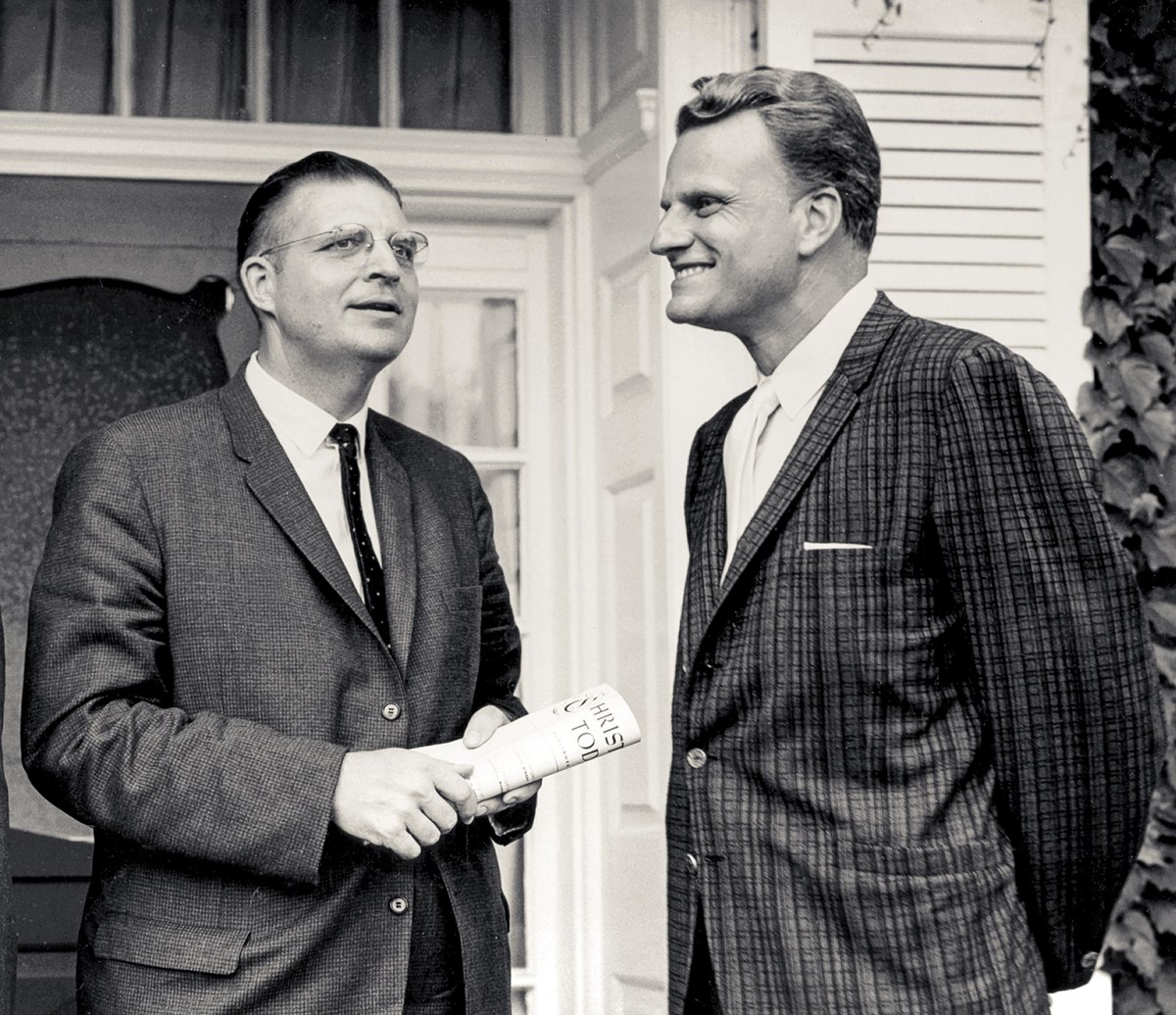 Founder Billy Graham with Carl F.H. Henry, editor, who is holding the first issue of Christianity Today.