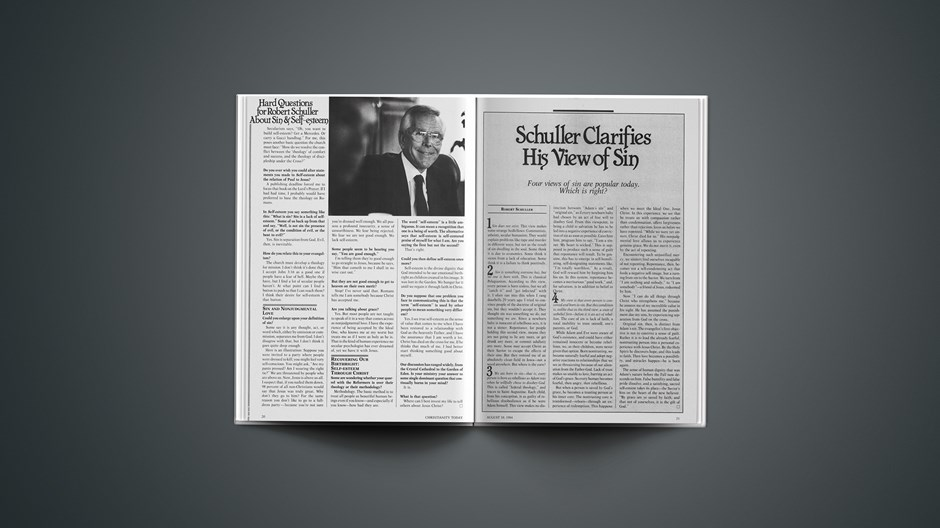Schuller Clarifies His View of Sin