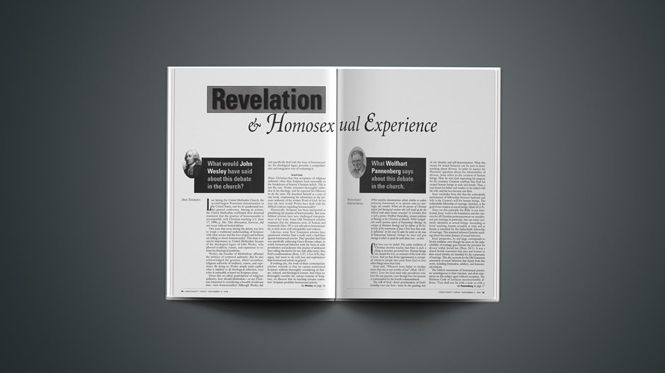 Revelation and Homosexual Experience:  What Wolfhart Pannenberg says about this debate in the church.