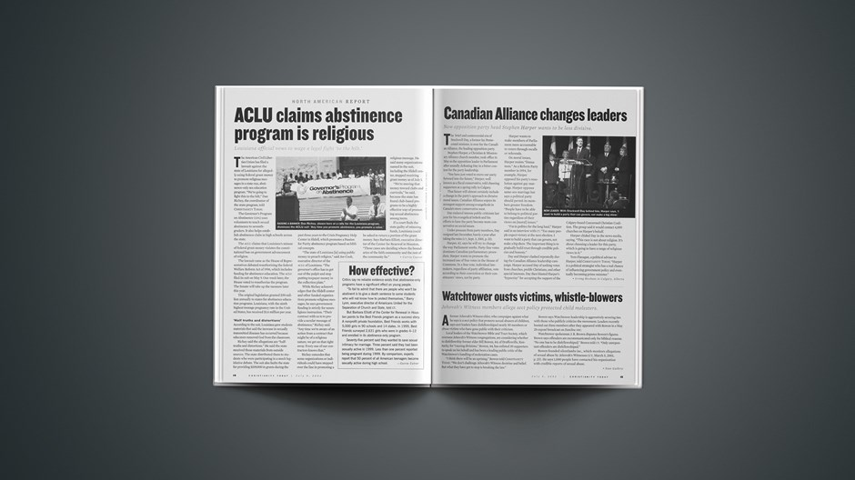 Assualt on Purity: ACLU Claims Abstinence Program has a Christian agenda.