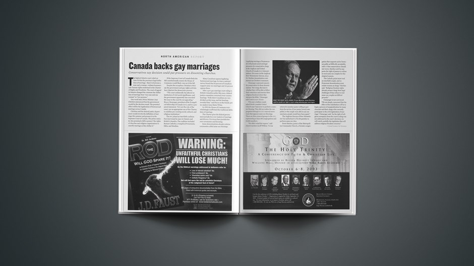 Canada Backs Gay Marriages