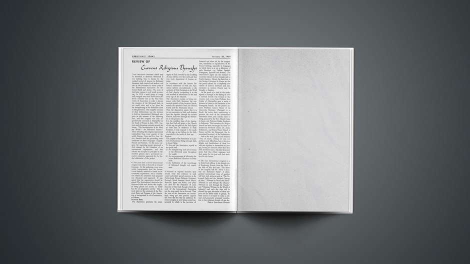 Review of Current Religious Thought: January 20, 1958