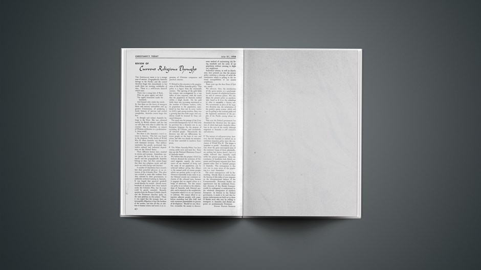 Review of Current Religious Thought: July 21, 1958