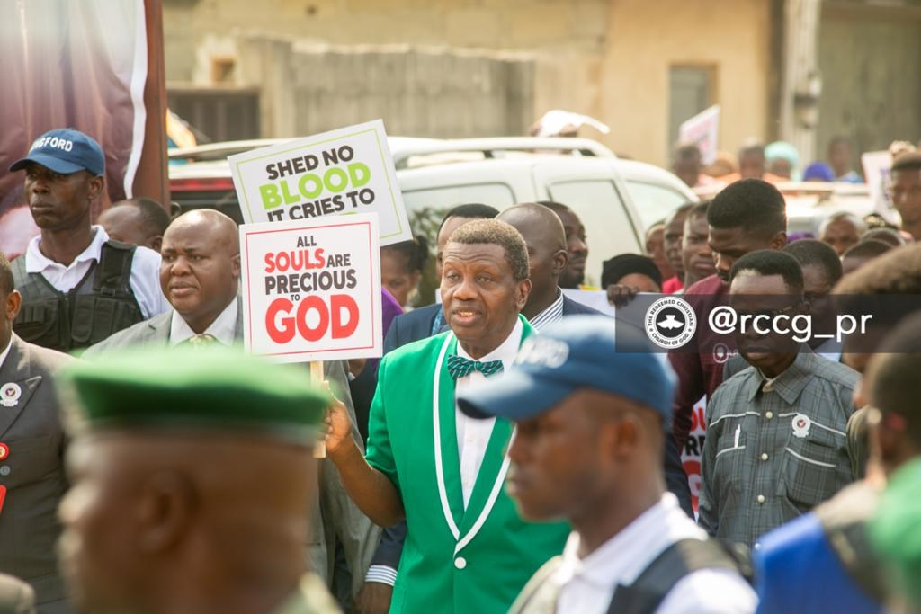 RCCG General Overseer Enoch Adeboye marches last Sunday.