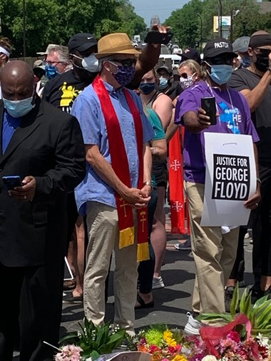 Me at a clergy march in Minneapolis