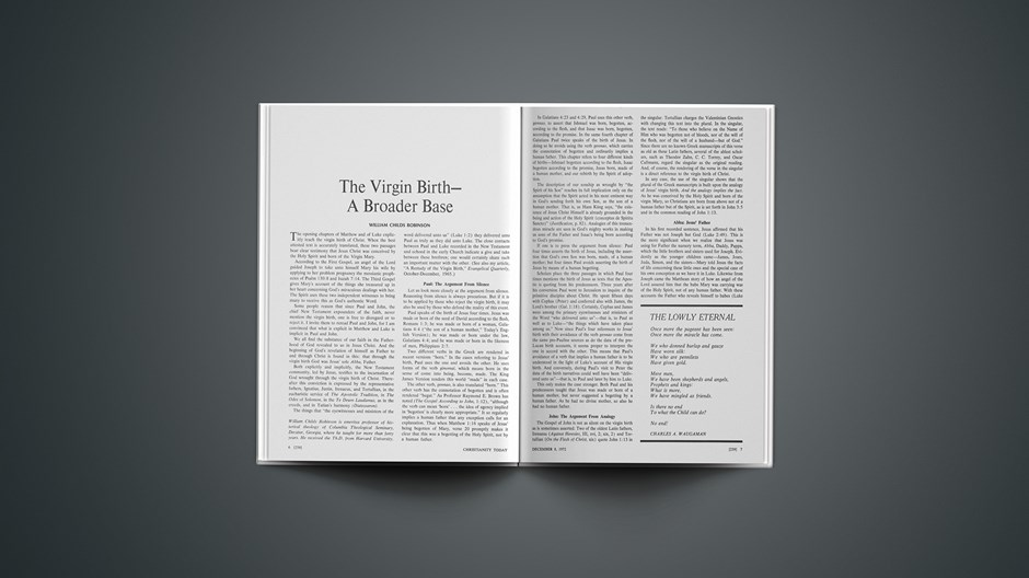 The Virgin Birth—A Broader Base