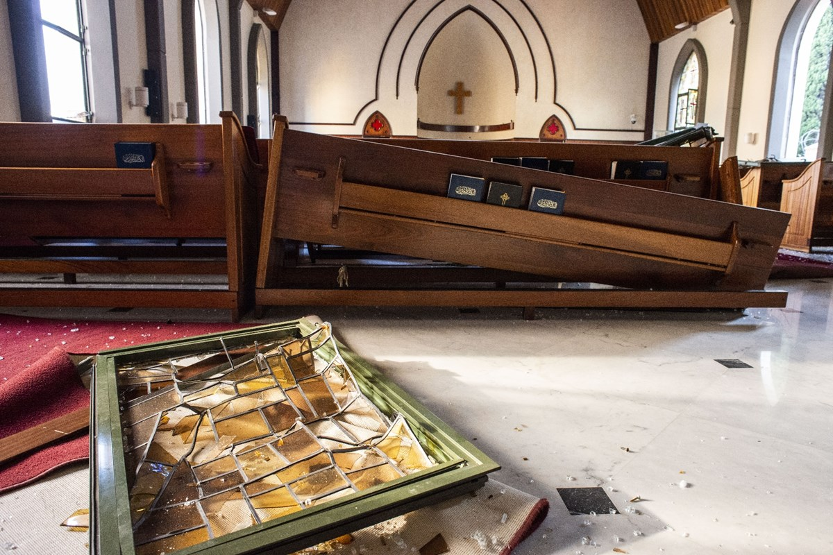 Damage at National Evangelical Church of Beirut