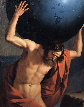 Guercino, Atlas holding up the celestial globe, 1646